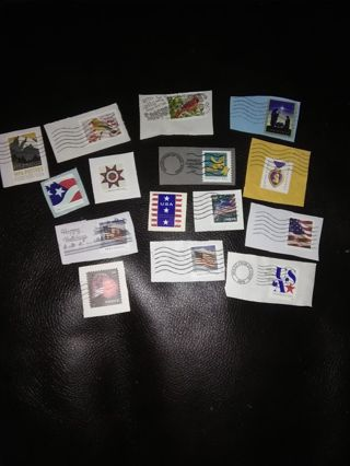 15 Used Postage Stamps