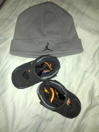 Infants Hat Baby Crib Air Jordan 8 Retro Black Orange Grey 2108cbaca92