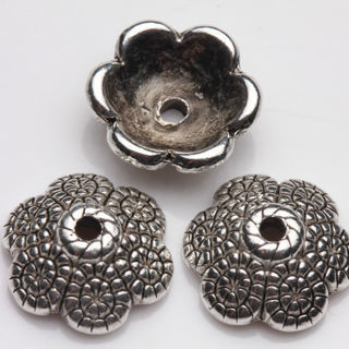 30Pcs Tibet Silver Plated Flower Spacer Bead Caps Jewelry Findings DIY 12x4mm