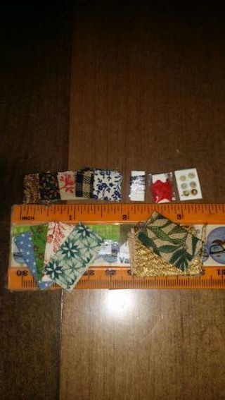 Dollhouse Miniature Fabric Pieces, Buttons & Ribbons Handmade for Dolly's Sewing Room #3