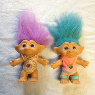 free troll dolls blue hair and purple hair made by ace novelty