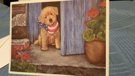 PATRIOTIC PUPPY PEEPING OUT THE DOOR BIRTHDAY CARD W/ ENVELOPE