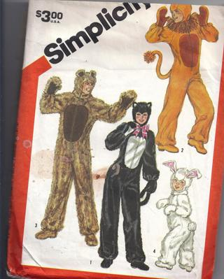 Free Simplicity 5739 Small Adult 32 34 Furry Lion Cat Wolf Bunny