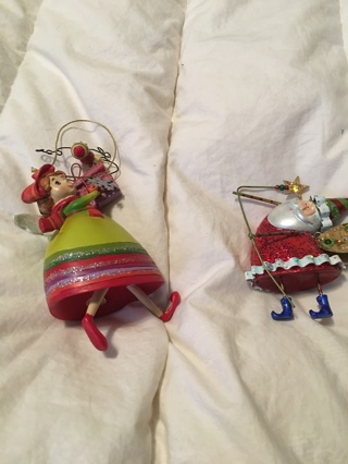 Christmas ornaments: Shopping fairy and Santa Fairy