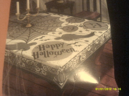 BLACK LACE SPIDER WEB TABLE CLOTH