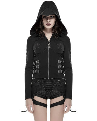 FREE NEW BLACK PUNK RAVE SMALL GOTH CORSET SWEATSHIRT HOODIE - NWT - SO HOT!