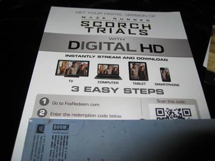 "UV Digital copy of ""SCORCH TRIALS"""