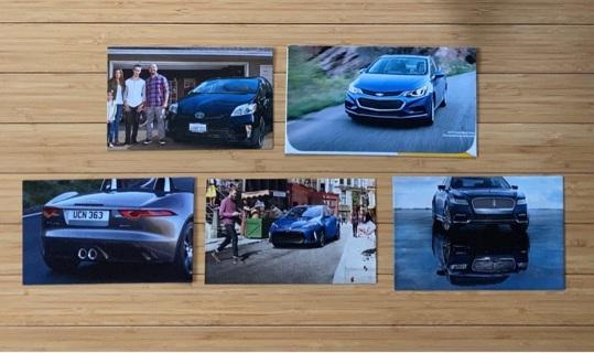 5 Blue Car Themed Envelopes