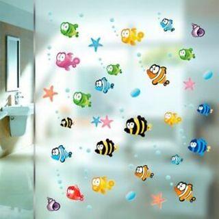 Mural Decal Bathroom Ocean Vinyl Room Home Sea Fish Wall Sticker Decor Kids