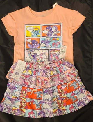 GIRLS 2 PIECE SIZE 4 T-SHIRT & SKIRT WITH ATTACHED SHORTS***TO CUTE***