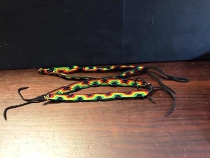 Lot of 4 Handmade Rasta Bracelets