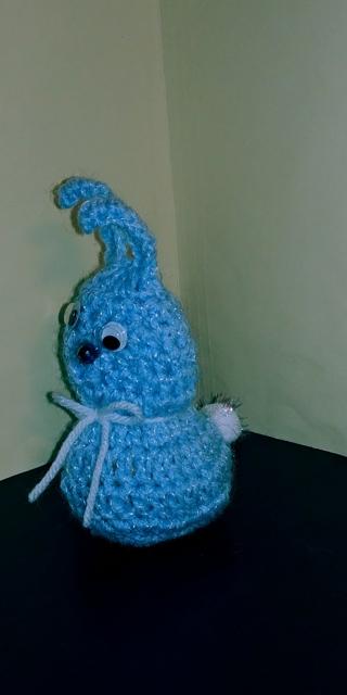 Crochet Bunny Rabbit (B-7608) Pastel Blue Sparkle / White