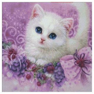 DIY 5D Diamond Embroidery Cute little Cat Painting Cross Stitch Home Decor V4D7
