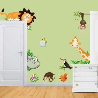 Stylish  Wall Stickers  Jungle Animal Kids Baby Nursery Child Home Decor Mural Hot Sale Bedroom Wa