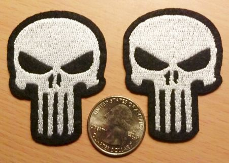 (2) THE PUNISHER Skull Logo IRON On Patches Clothing Embroidery Decoration Patch FREE SHIPPING