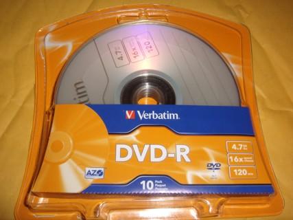 Verbatim DVD-R 10PK 4.7GB 16X 120MIN BNIB