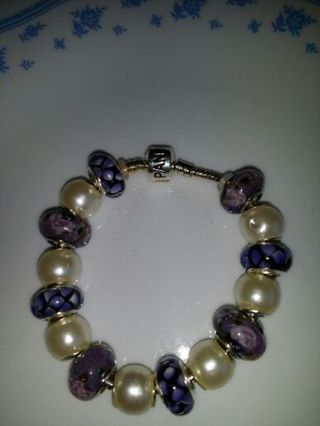 """7 1/2"""" silver euro style bracelet. FREE SHIPPING IN THE UNITED STATES"""