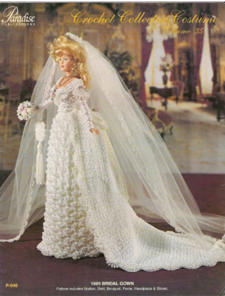 FREE Paradise Publications 35 Beaded Crochet Victorian Wedding Gown Pattern For Doll Such As Barbie