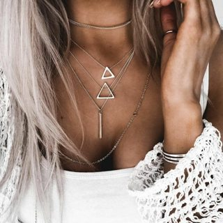Women Fashion Simple Openwork Triangle Geometric Pendant Multilayer Silver Necklace Party
