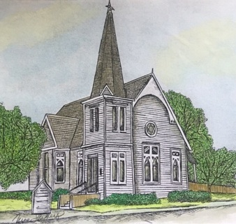 "LITTLE CHURCH IN BASTROP - 5 x 7"" art card by artist Nina Struthers - GIN ONLY"