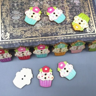40PCs Wooden Sewing Buttons Xmas Cupcakes Fit Scrapbooking Crafts 30mm