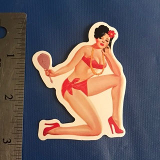 Sexy Pin up Red Mirror Lady Sticker Vinyl Decal NEW