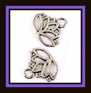 TWO (2) pcs SWEET OPEN LOTUS FLOWER Tibetan Silver Pendants, Charms, 17mm x 15mm, Brand NEW!