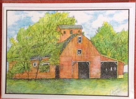"OVERGROWN BARN - 5 x 7"" art card by artist Nina Struthers - GIN ONLY"