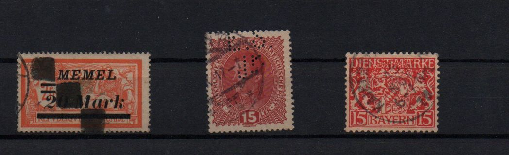 old german territories: Perfin -Austria * official stamp Bavaria - high value 2 Mark Memel