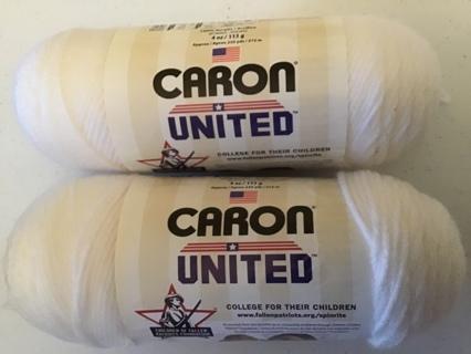 2 Caron United white yarn 4 ply 4 oz skein