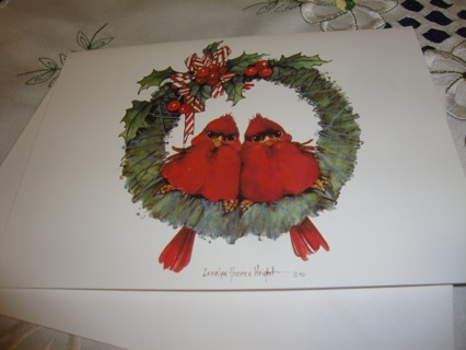 #13 Cardinal Birds perched on a wreath Christmas Card ~ Free Shipping