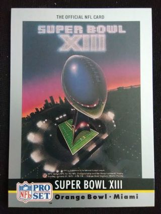 "1990 NFL Pro Set ""Super Bowl XIII"" Theme Art Football Card #13"