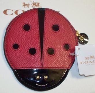 Coach Ladybug Crossgrain Leather Coin Purse Nwt 75