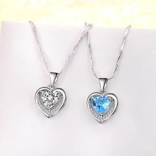 Simple Crystal Zircon Heart Pendant Necklace