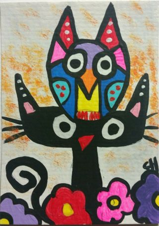 new hoot owl on black cat photo 4x6