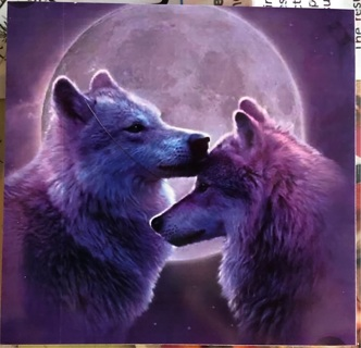 "Lunar Wolves in purple - 3 x 3"" MAGNET"