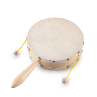 Baby Shaking Wooden Rattle Drum Percussion Handheld Childrens Musical
