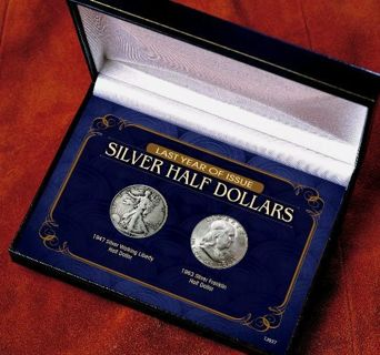 LAST YEAR ISSUED SILVER HALF DOLLAR 2 COIN SET 1946 Walking Liberty and 1963 Silver Franklin