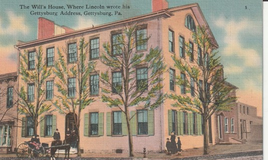 Vintage Used Postcard: Linen: Will's House, Lincoln's Gettysburg Address, Gettysburg, PA