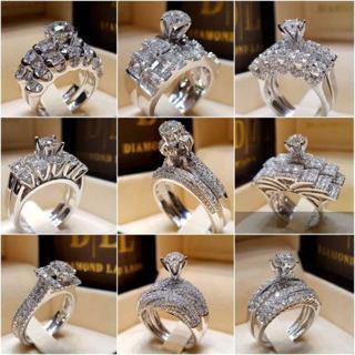 2pcs/set Chic Women White Rhonestone Silver Ring Wedding Bridal Jewelry Sz5-11