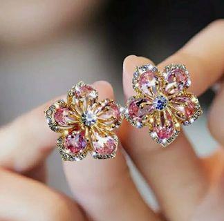 925 Silver Flower Zircon Crystal Earrings Ear Stud Women Jewelry Xmas Gifts Hot
