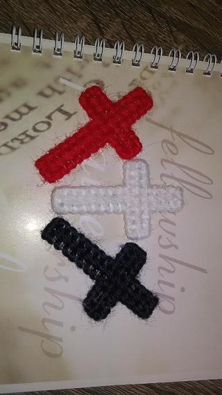 THREE CROSSES - RED WHITE AND BLUE