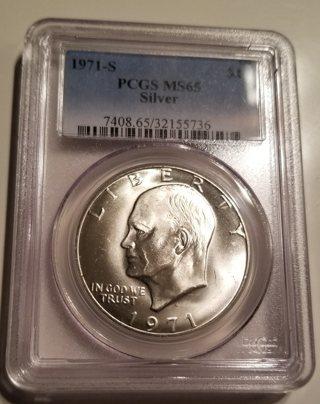 1971-S PCGS MS65 Silver Ike Dollar