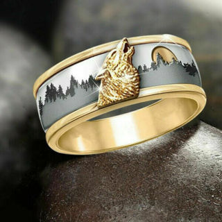 [GIN FOR FREE SHIPPING] Call of The Wild 18K Gold Two-Color Forest Wolf Ring