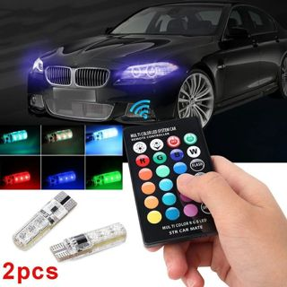 New Universal 2 Pcs/Set 12V LED Car Light With Remote Control T10 5050 SMD RGB Auto Interior