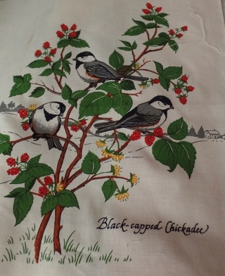 Black-capped Chickadee Fabric Block to Quilt and/or Frame, 100% Cotton, 10-1/2 x 12 - APA-109
