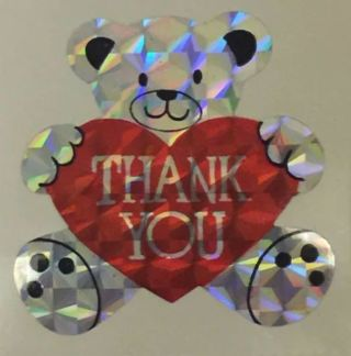 "❤✨❤✨❤️10 LARGE & 10 SMALL BRAND NEW METALLIC TEDDY BEAR WITH HEART ""THANK YOU"" STICKERS❤✨❤✨❤"