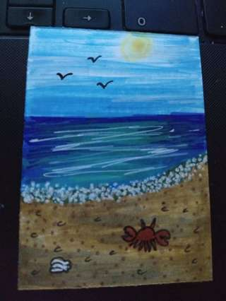 ACEO Original Beach drawing mini painting