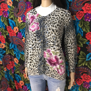 Leopard Floral Cardigan Sweater Nice Buttons Charlotte FREE SHIPPING