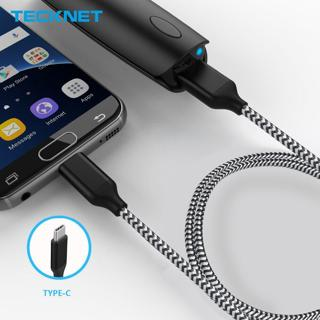 Tecknet 2.4A USB Type C Cable for Oneplus Samsung S9 S8 Plus Note 8 Fast Charge Data Syncing Charg